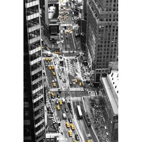 Aluart yellow taxi in Times Square