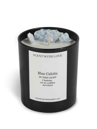 Blue Calcite Candle Black | Scent With Love