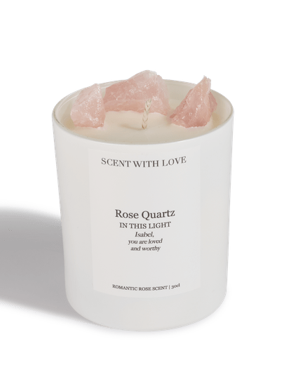 Rose Quartz Candle white | Scent With Love