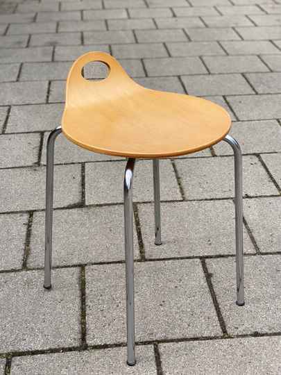 Plywood and chrome stool