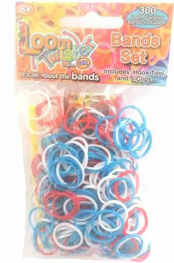 Loom Twister Loombands Junior Rubber Blauw/wit/rood 300-delig