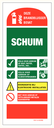 Instructie schuimblusser bord (80X200mm)