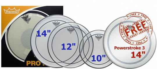 """Remo ProPack 10"""", 12"""", 14"""" Pinstripe Clear + Free 14"""" Ambassador Powerstroke 3 Coated"""