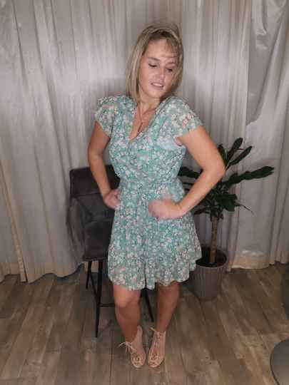 Dress with pastel green flower print