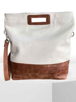 HandBag/ShoulderBag VONDEL Snow White/Peanut Brown
