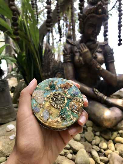 Green Goddess Sacred Geometry Orgonite® Orgone Charging Plate For Love, Magic & Transformation