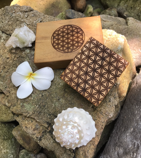 Flower Of Life Sacred Geometry Handcrafted Teak Wood Herb - Supplement - Jewellery - Box For Creation, Protection & Empowerment