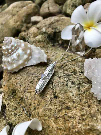 Magic Moonstone 925 Sterling Silver Flower Of Life Amulet Pendant For Creation, Empowerment & Protection