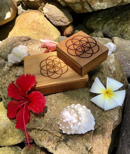 Seed Of Life Sacred Geometry Handcrafted Teak Wood Herb - Supplement - Jewellery - Box For Protection, Blessings & Divine Energy