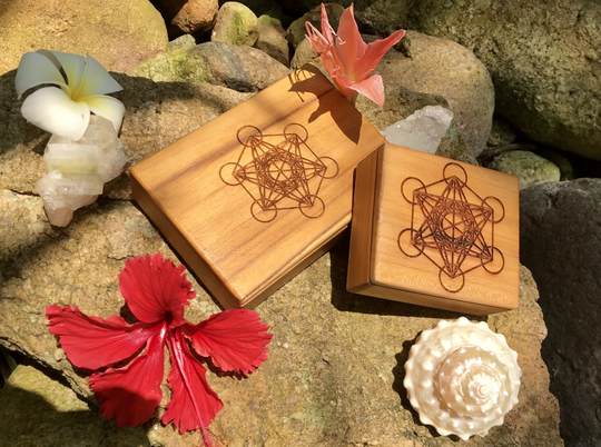 Archangel Metatron Sacred Geometry Handcrafted Teak Wood Herb - Supplement - Jewellery - Box For Healing, Guidance & Protection