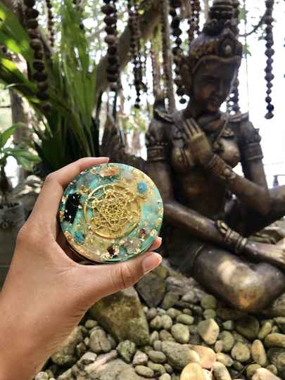 Turquoise Sea God(dess) Sacred Geometry Orgonite®  Orgone Charging Plate For Confidence, Trust & Willpower