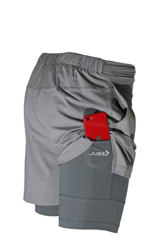 2IN1 SECOND SKIN SHORT - GREY (M-05A)