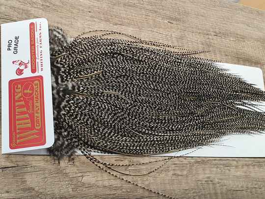 Whiting Pro Grade Rooster Saddle MIDGE  Grizzly variant NR44