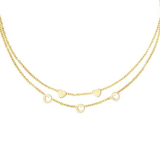 Triple Hearts Necklace Gold