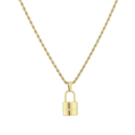 Amour Lock Necklace Gold