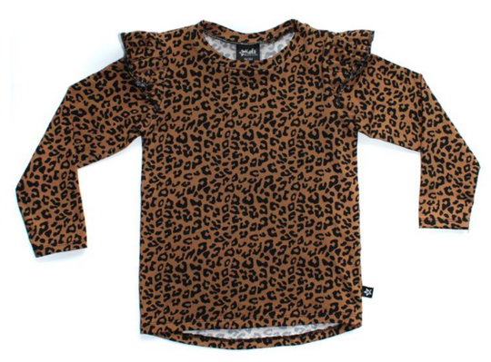 Ruffled longsleeve | Leopard brown