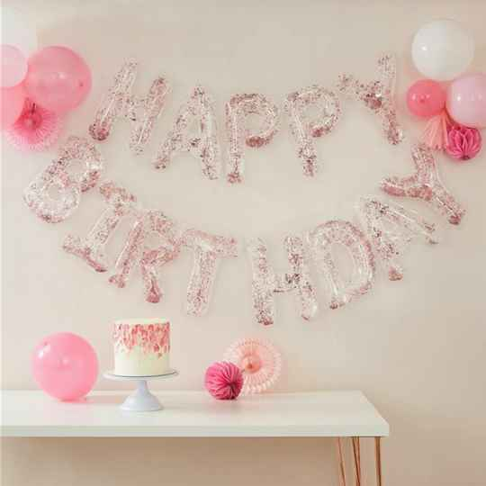 Happy birthday confetti ballonnen slinger - roze