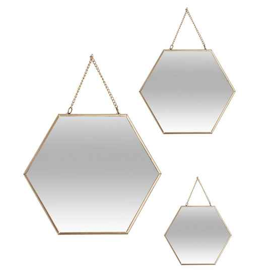 Spiegel Hexagon metalen ketting goud