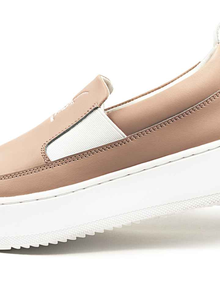 Low top laceless sneakers - Pink-salmon/white