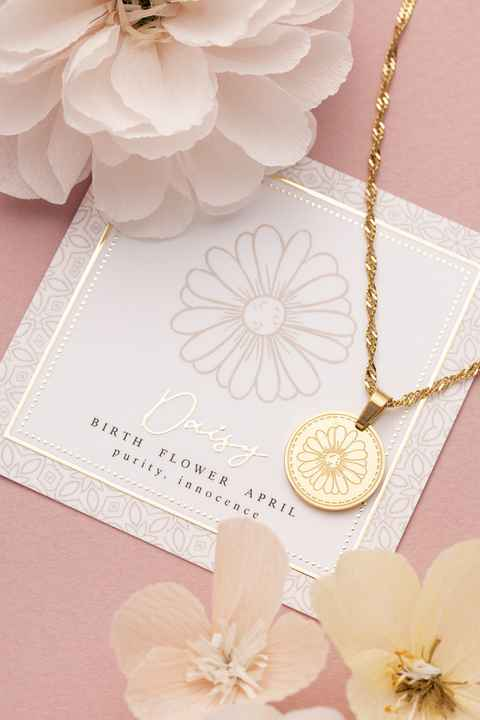 Ketting - Goud/Zilver - Birth Flower - April - Daisy (Madeliefje)
