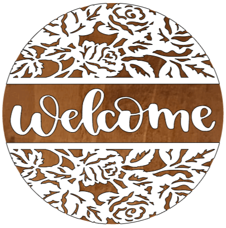 """Welcome with flower boarder - 14"""""""