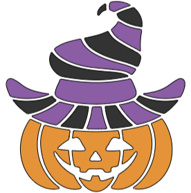 """Pumpkin with Witches Hat - 8"""" x 8"""""""