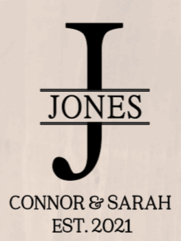Large Last Initial with Last Name, First Names and Est Date