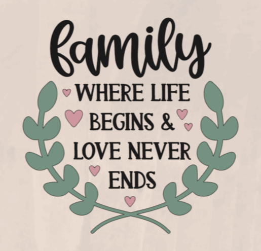 Family Where Life Begins & Love Never Ends - 8 x 8