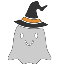"""Ghost With Witch Hat - 8"""" x 8"""""""