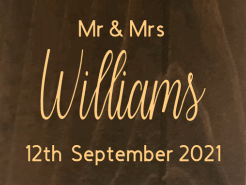"""Mr & Mrs with Last Name, Month, Date and Year- 12"""" X 20"""""""