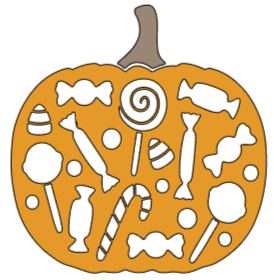 """Pumpkin With Candy - 8 """"x 8"""""""