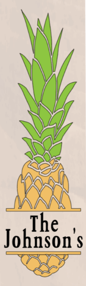 Pineapple with Family Name - 8 x 24 3DB