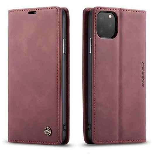 Caseme Retro Wallet Slim Booktype hoesje voor de iPhone 12 / 12 Pro - rood (wine red)