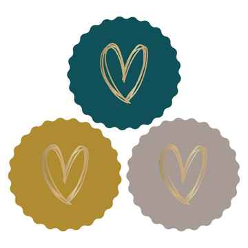 Cadeaustickers - Heart gold coloured