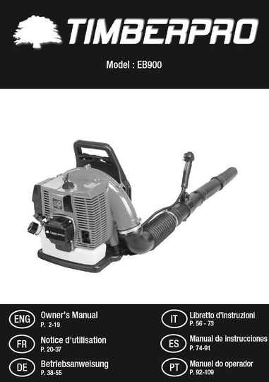 Timberpro EB900 Backpack Leafblower user manual