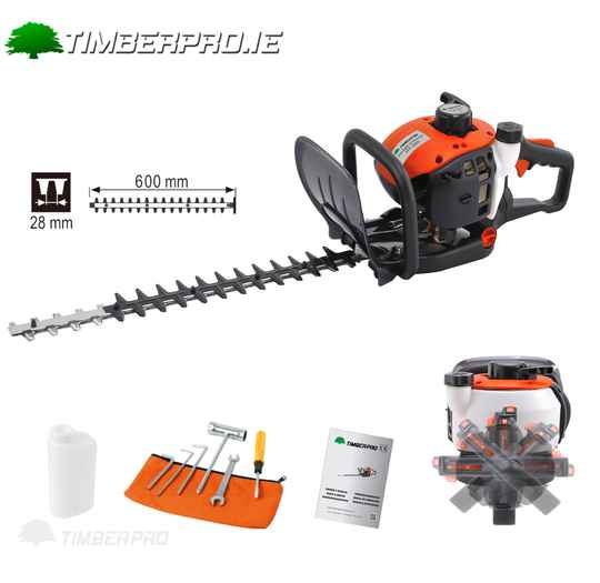 """Timberpro 24"""" Hedge Trimmer 26cc engine. Double sided blades."""