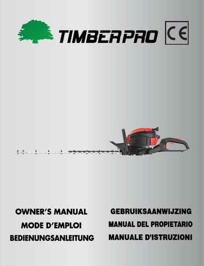 Timberpro HT340 hedge trimmer user manual, click on link.
