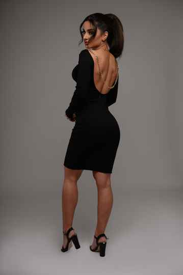 Pre Order - Black chained dress