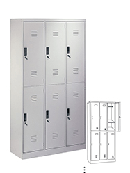 STL-G104 6 Door Steel Locker Cabinet