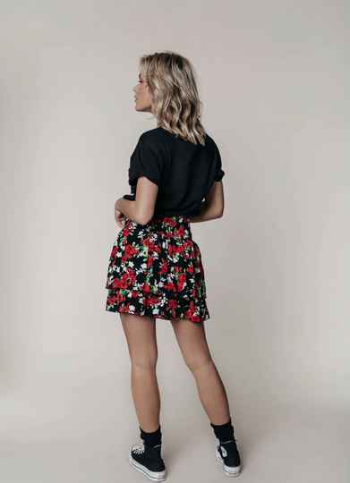 Daphne Roses Two Layer Skirt Black