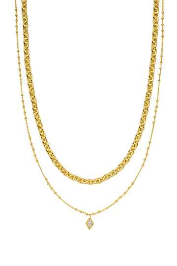 Rose Diamond Necklace 18K Gold Plated