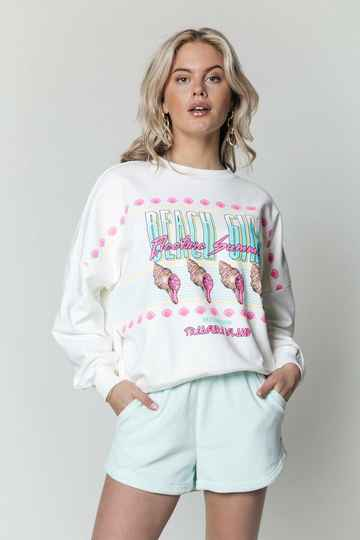 Colourful Rebel  Beach Girl Dropped Shoulder Sweat Offwhite