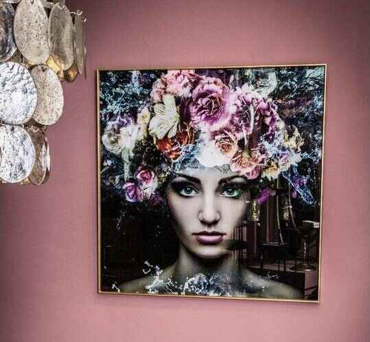 PTMD Melani glass art wall picture women flower square