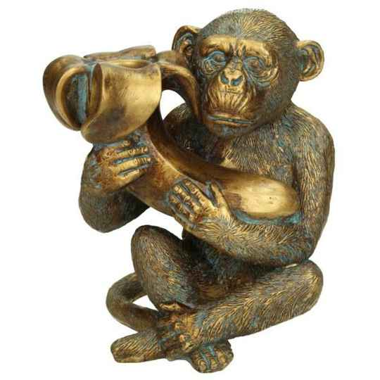 Candle Holder Monkey Gold 16x10x14cm XET-2745