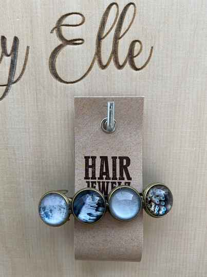 Hairjewelz color clip original Grey Feather