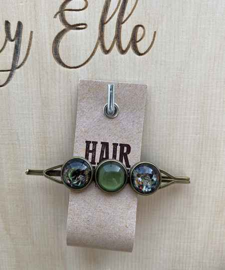 Hairjewelz color clip triple Green Secret