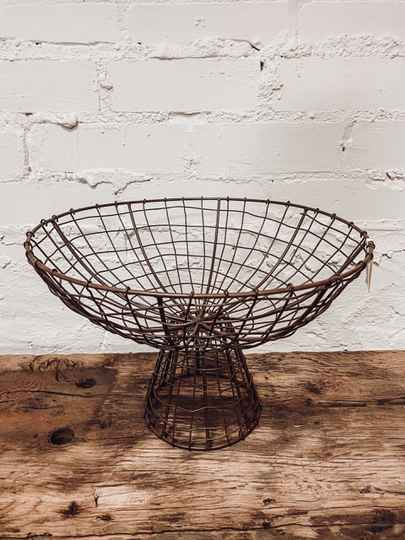 Madam Stoltz - Iron Basket With Stand Antique brown