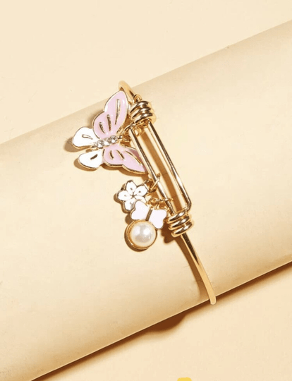 Butterfly & Pearl Charm Bangle