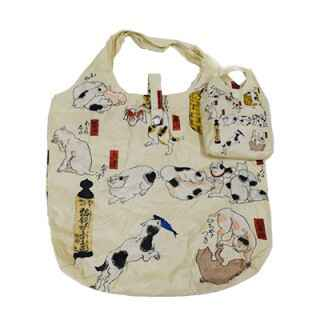 "Eco opvouwbaar tasje  ""Cats suggested as the 53 stations of the Tokaido"" (T-Ebag-D)"