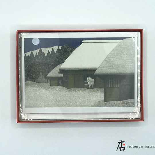 Kazuyuki Ohtsu Moonlight in winter at Toono - 12 briefkaarten met enveloppen